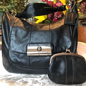 Coach  Black Leather  Shoulder Purse Set & coin